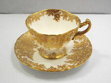 Vtg Hammersley England Bone China Heavy Gold Floral Pattern Tea Cup & Saucer