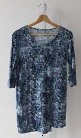 J. JILL Pure Jill Printed Wrap Tunic Top Cotton Knit 3/4 Sleeve Purple Blue XS