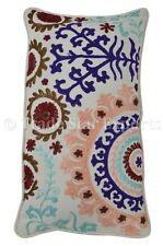 Indian Suzani Embroidered Pillow Cover Cotton Cushions Boho Shams Sofa Throw Art