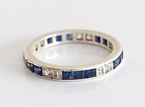 Beautiful Vintage Sterling Silver & Sapphire Full Eternity Band Ring UK Size R