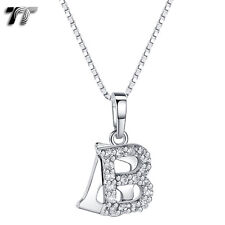 TT 18K White Gold GP Letter B Pendant Necklace With Box Chain (NP331B) NEW