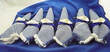 Set of 6 blue & white napkins & matching blue & white calla lily napkin rings