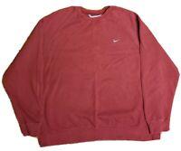 VTG NIKE Swoosh Check Embroidered Crewneck Sweatshirt Men Size XXL Wine/Burgundy