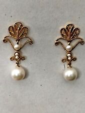 14 KT Gold Earrings Victorian Filigree w Pearl & Seed Pearl Dangle See These !