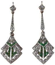 Victorian 925 Silver Dangler Earring 4.20cts Rose Cut Diamond Emerald Antique