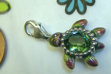 New Brighton enamel turtle gorgeous green crystal lobster claw clip clasp charm