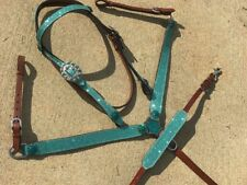 Western Saddle Horse Bling! Teal Glitter Leather Tack Set Bridle w/Breast Collar