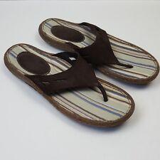 Born Men's Brown Leather Thong Canvas Foot Bed Flip Flop Sandal Size 12