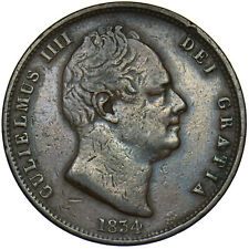 More details for 1834 halfpenny - william iv british copper coin - nice
