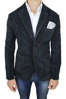 GIACCA UOMO DIAMOND SARTORIALE NERO IN VELLUTO ELEGANTE CASUAL 100% MADE ITALY