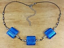 *Freedom Tree* Ocean Blue Shimmer Murano Glass & Handmade Silver Beads Necklace