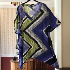 Sunny Taylor Woman Asymmetrical Tunic Top Blue Yellow Shirt Stretch Plus Size 2X