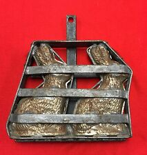 Antique Easter Bunny Rabbit Chocolate Mold HEAVY No Markings Vintage 2 Clamps