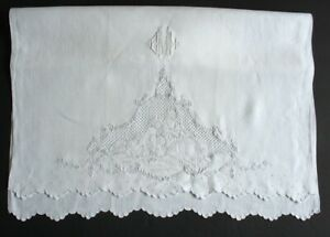 Antique Madeira Hand-Embroidered Hand Towel, Figural Court Couple White on White