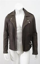 IRO Mens Gray ARONEL Distressed Leather Motorcycle Moto Biker Jacket Coat S