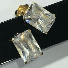 WOW - Simulated Diamond (Diamonique 2 ct eq) Emerald-Cut Stud Earrings 14K Gold