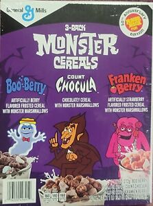 Monster 3 Pack Cereal Count Chocula-Boo Berry-Franken Berry 50th Anniversary Ed!