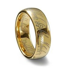Lord Of The Rings Stainless Steel Polished Gold Fashion Jewelry Ring Size 6 Lotr