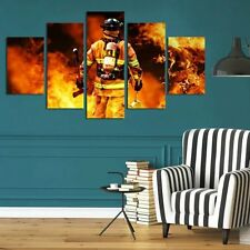 HD Printed Modern Abstract Oil Painting Wall Decor Art Huge - Hero firefighter