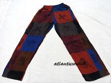 T557 L multi-colore con Patch Cotone Unisex Fatto A Mano Blocco Stampato Pantaloni Pantalone