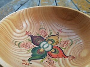 vintage wood bowl tole painted flowers toleware beautiful lovely