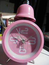"Single Bell Alarm Clock """"Quartz""& #034; Pink with Night Light *Free Shipping*"