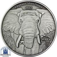 Gabun 1000 Francs CFA Silber 2012 Antique Finish Elefant Silver Ounce