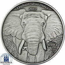 Gabón 1000 francos CFA plata 2012 Antique Finish elefante Silver ounce