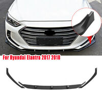 Gloss Black 3 PCS Front Bumper Spoiler Lip Cover For Hyundai Elantra 2017