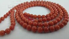 28.4 grams  Natural Red Coral  beads 6.5 mm   DARK RED.  undyed ,45 cms.