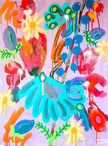 MODERN LARGE EXPRESSIONISM ORANGE FLOWERS PAINTING ORIGINAL CONTEMPORARY DESIGN