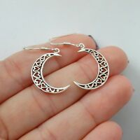 Crescent Moon Earrings - 925 Sterling Silver  Hearts Dangle French Ear Wires NEW
