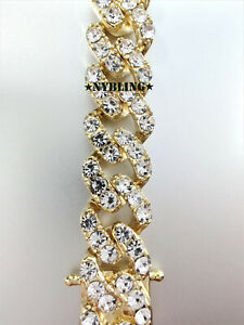 Diamond (Simulated) Miami Cuban Chain Necklace or Bracelet Mens Hip Hop Jewelry