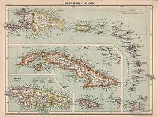 1929 mappa ~ Antille isole ~ Haiti PORTO RICO Cuba Giamaica Leeward Windward