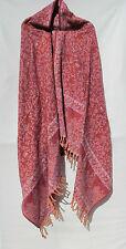 Yak/Sheep Wool Shawl/Throw/Wrap - Handloomed-Reversal-Dk Coral/Grey-Paisley-Full