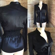 Women's Flavio Castellani Italy Blouse Size 40 Black Silk