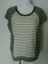 Peter Som black white tee, stretch knit striped. summer casual size XL