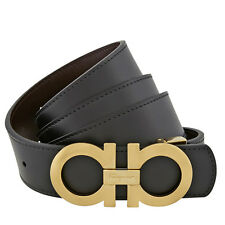 Ferragamo Reversible Leather Belt with Gold-Tone Buckle - Size 46