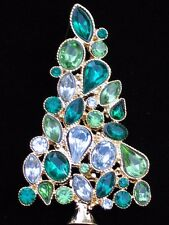 MULTI GREEN MARQUE PEAR RHINESTONE CHRISTMAS TREE PIN BROOCH PENDANT JEWELRY 2.5