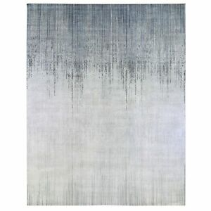 """11'9""""x15' Oversized Ombre Design Silk with Textured Wool Hand Made Rug R66850"""