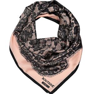 Moschino Ladies 100% Silk Scarf Pink & Black Lace Print 80x92cm Brand New