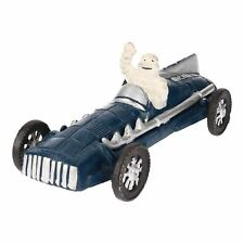 Michelin Man agitant dans Blue Racer/Voiture de course FIGURE STATUE FIGURINE en FONTE