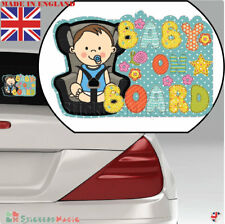 Baby On Board LAMINATED Boy Car Sticker Sign, Bumper Window Warning Sticker  UK