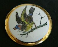 Antique/Vtg Ceramic Button Hand Painted? BIRD open wings Gilded edge1&15/16