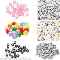 Sonderangebot 500 Mix Acryl Perlen Beads Würfel Buchstaben Basteln 6mm M3331