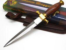 Wood Handle Brass Guard Commando Straight Fixed Dagger Knife + Sheath PA3105