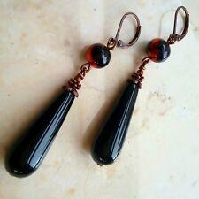 Artisan Long Drop Earring Black Onyx Teardrop Glass Bead Dangle Leverback Copper