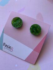 Acrylic Stud Earrings, Glitter & Swirl Green, Surgical Steel, Christmas, 16mm