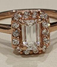 .53ct Emerald Cut Diamond Halo Engagement Ring 14Kt Rose Gold .75Ct Total Diam