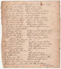 Autograph Signed Poem- Lament of Free Africans for Mungo Park ca 1820 Manuscript